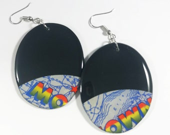 Motown Vinyl Record Earrings Recycled One Of A Kind, Lightweight, Upcycled