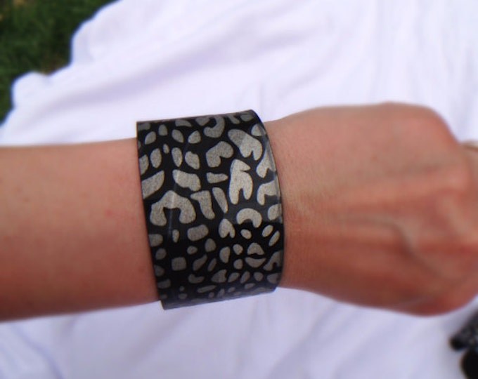 Champagne Gold Leopard Flat Cut Upcycled Vinyl Record Cuff Bracelet- Repurposed LP
