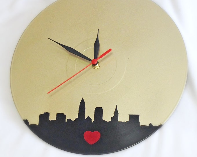 Cleveland Skyline Wall Clock Made From A Upcycled Vinyl LP Record - Champagne colored with Heart