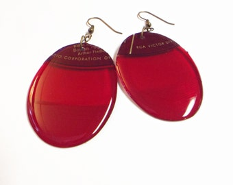 Red Vinyl Record Earrings RCA Label Recycled One Of A Kind Lightweight Upcycled