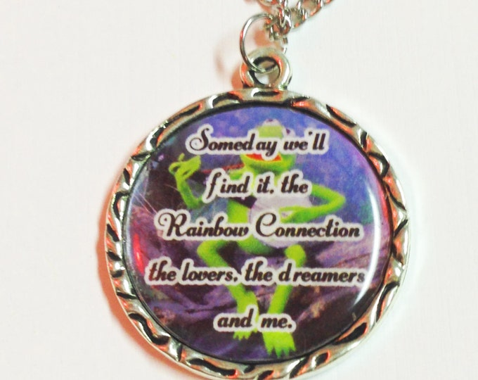 Kermit Rainbow Connection Muppets Charm Necklace