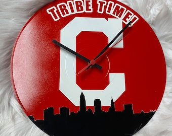 """Cleveland Indians """"TRIBE TIME"""" Upcycled Vinyl LP Record Wall Clock with Cleveland Indians Inspired Block C and Skyline in Red and White!"""