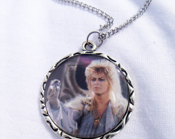 Labyrinth David Bowie Jareth Charm Necklace with Silver Charm Goblin King