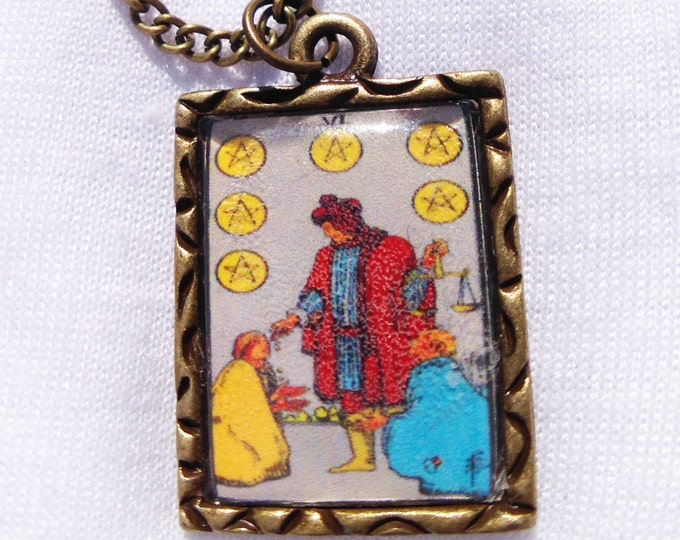 Six of Pentacles Tarot Card Charm Necklace