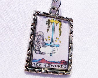 Ace Of Swords Tarot Card Charm Pendant Necklace