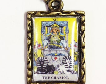 The Chariot Tarot Card Charm Necklace