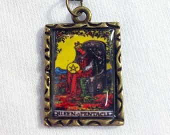 Queen Of Pentacles Tarot Card Charm Necklace