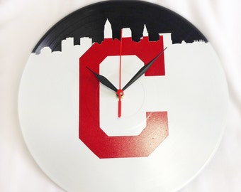 Cleveland Indians Upcycled Vinyl LP Record Wall Clock with Cleveland Indians Tribe Inspired Block C and Skyline in Red and White!