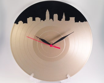Cleveland Skyline on Upcycled Vinyl LP Record Wall Clock in Champagne Gold Record Clock