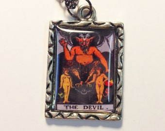 The Devil Tarot Card Charm Necklace