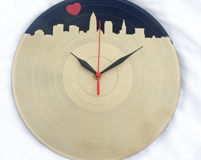 Cleveland Skyline Wall Clock Made From A Upcycled Vinyl LP Record - Champagne colored with Heart in Sky
