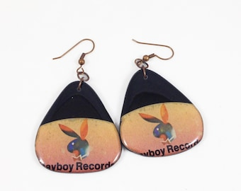 Vinyl Record Earrings-  Playboy Records Label, Pick Shaped Recycled One Of A Kind, Lightweight, Upcycled