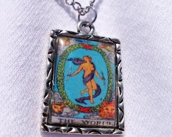 The World Tarot Card Charm Necklace