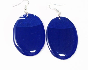 Blue Vinyl Record Earrings Recycled One Of A Kind, Lightweight, Upcycled