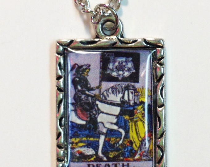 Death Tarot Card Charm Pendant Necklace