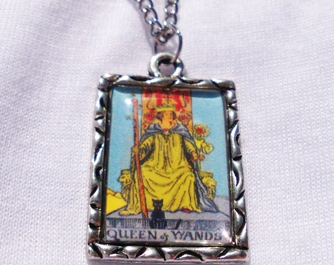 Queen of Wands Tarot Card Charm Necklace