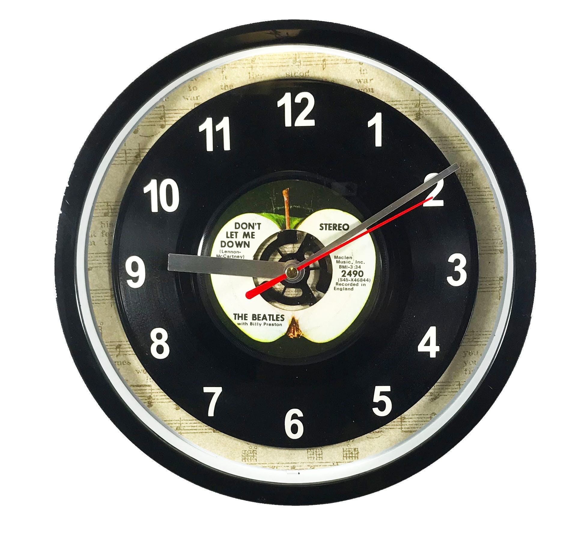 The Beatles Dont Let Me Down 45rpm Recycled Vinyl Record Wall Clock