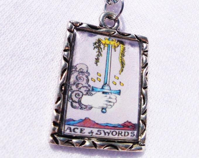 Ace Of Swords Tarot Card Charm Pendant Necklace