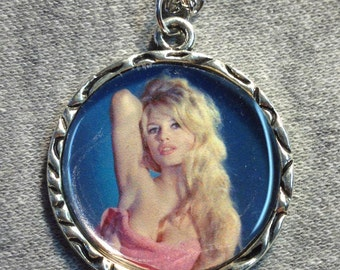 Brigitte Bardot Pink Towel Charm Pendant Necklace