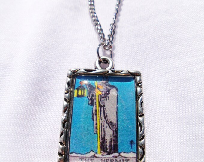 The Hermit Tarot Card Charm Necklace