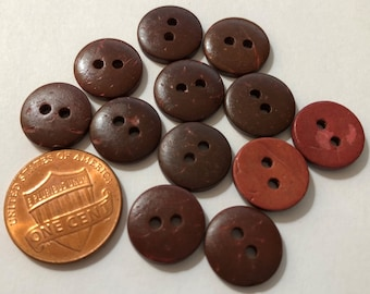 15MM Dark brown flat Coconut Shell Buttons 24L knit crochet embellish novelty 2 hole sew on natural eco friendly 24 pieces