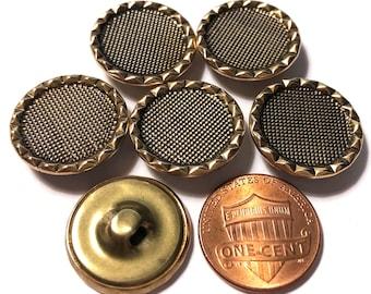Antique brass ball BUTTONS 6 matching faceeted brass 38.