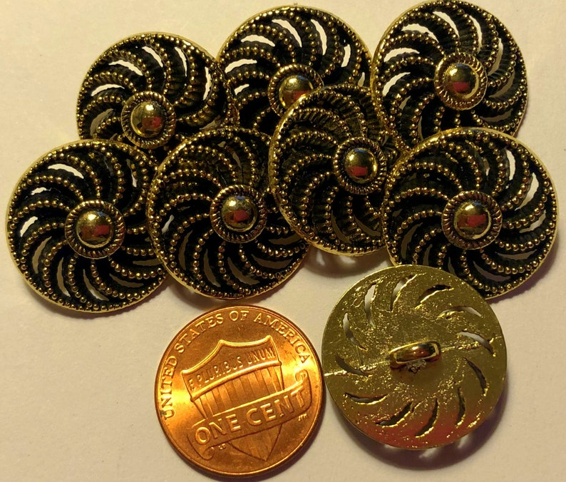 Lot of 8 Pierced Shiny Pale Gold Tone Metal Black Accent Shank Buttons 1316 20mm # 6879