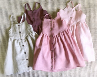 Linen Summer Dress / girls dress / button front dress / baby dress