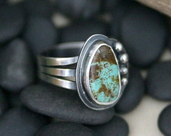 Turquoise Ring, Sterling Silver, handmade ring, natural turquoise, arizona turquoise, one of a kind, gift for her, green stone