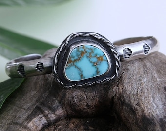 Turquoise Cuff Bracelet, Sterling silver, Carico Lake Turquoise, blue turquoise, Natural Turquoise, boho cuff, gift for her, silversmith