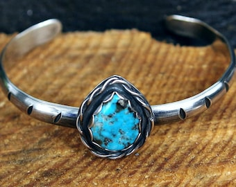 Turquoise cuff bracelet, Sterling Silver, Turquoise Bracelet, Natural turquoise, Blue Turquoise, one of a kind, Mexican turquoise