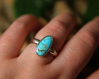 Turquoise Ring, Sterling silver turquoise Ring, natural turquoise, Minimalist ring, gift for her, Blue Turquoise, made to order, blue stone