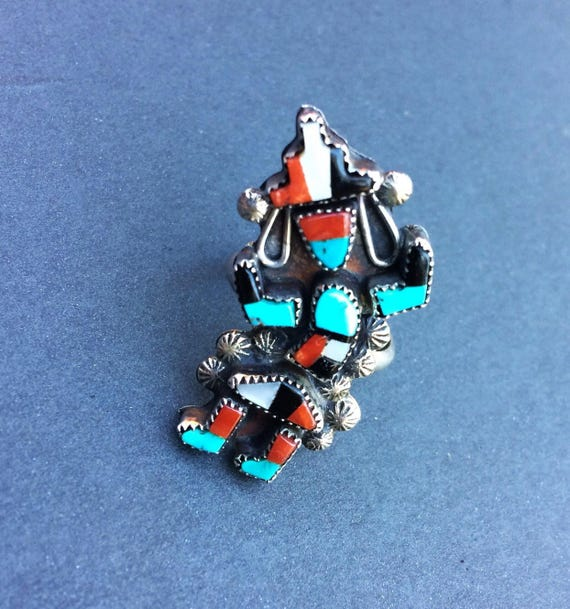 RING TURQUOISE Kachina Rainbow Antique Inlay Sterling Silver Stamped Raindrops Size 6 3/4