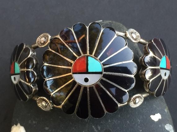 CUFF TURQUOISE Zuni L/L Dickson Vintage Old Three Sunface Bracelet