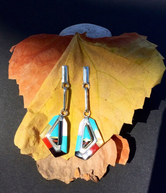 EARRINGS TURQUOISE Zuni Native American Drop Sterling Stone Inlay Signed Olivia Panteah