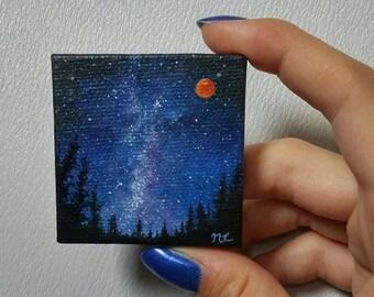 Miniature Milky Way Space Painting, Fridge Magnet. 1:12 Dollhouse Collectibles, Mini Art, Tiny Painting, Harvest Moon, Full Moon, Galaxy Art