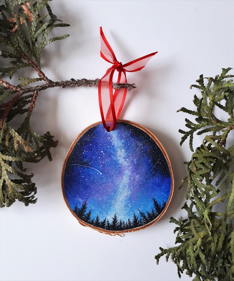 Milkyway Painting Holiday Ornament Rustic Ornament Wooden Ornament Christmas Ornament Nature Art Wood Slice Art Wood Round Painting