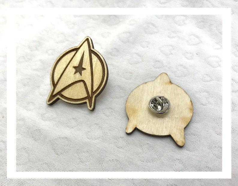 Laser engraved Star Trek com badge  pins pushback pins wood image 0