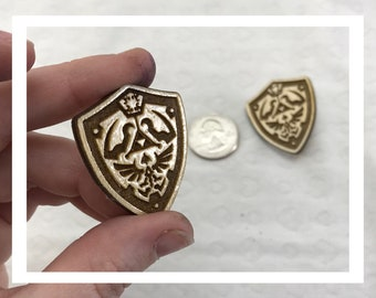 Laser engraved Legend of Zelda Shield pins pushback pins wood etched retro Hylian Hyrule