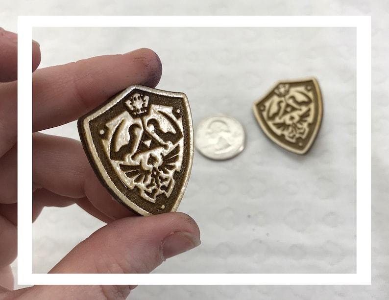 Laser engraved Legend of Zelda Shield pins pushback pins wood image 0