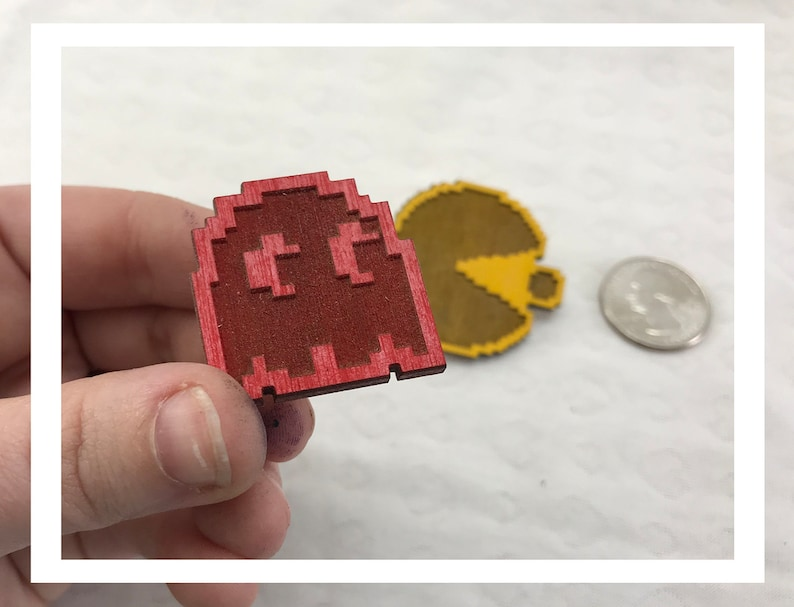 Laser engraved Pac Man pins pushback pins wood etched retro image 0