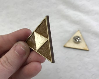 Laser engraved Legend of Zelda Triforce pin pushback pin wood etched retro Hylian Hyrule