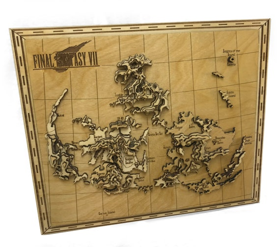 Final Fantasy VII Laser Cut Topographic Map