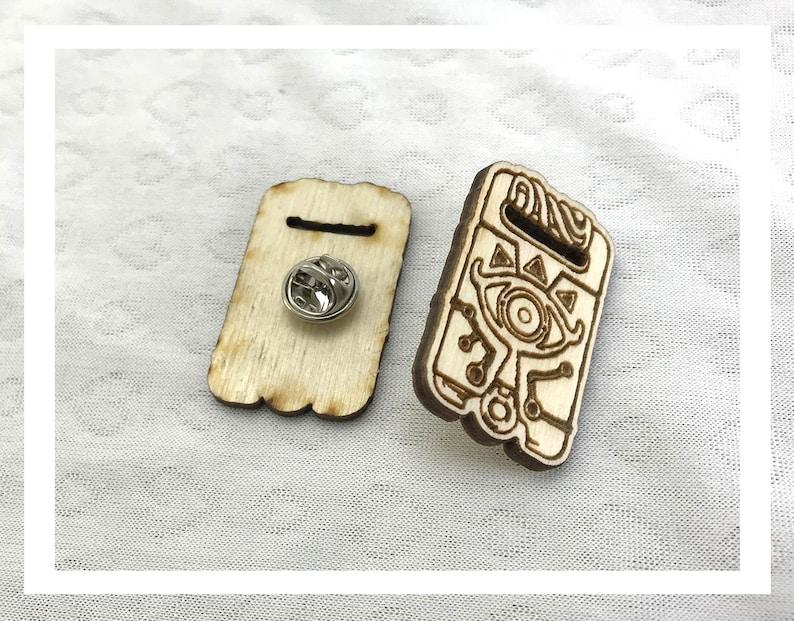 Laser engraved Legend of Zelda Sheika Slate pins pushback pins image 0