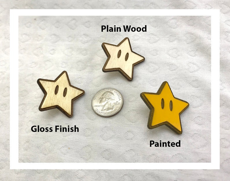 Laser engraved Mario Starman pins pushback pins wood etched image 0