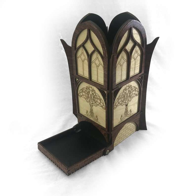 Elven Style Wooden Dice Tower image 0