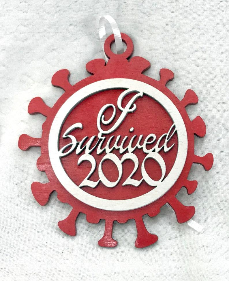I Survived 2020 Holiday Ornament  Coronavirus Version image 0