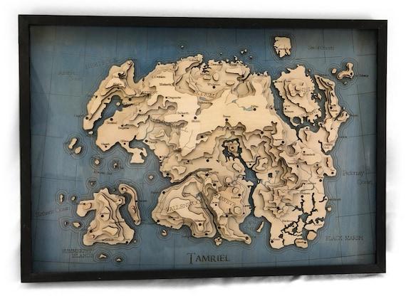 Topographic Laser cut map of Tamriel - Elder Scrolls, Skyrim, Oblivion, on full skyrim map, full map of fallout new vegas, elder scrolls oblivion, full map of gta 4, full oblivion caves map map,