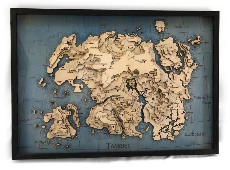 Oblivion Karte.Topographische Laser Geschnitten Karte Von Tamriel Elder Scrolls Skyrim Oblivion Morrowind Bethesda