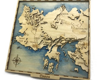 Game of Thrones  Inspired Lasercut Wooden Topographic Map Essos